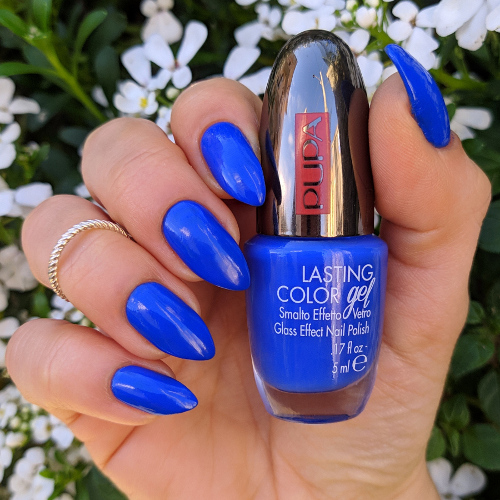Pupa Lasting Color gel 075 Hydrosphere e stamping nail art floreale